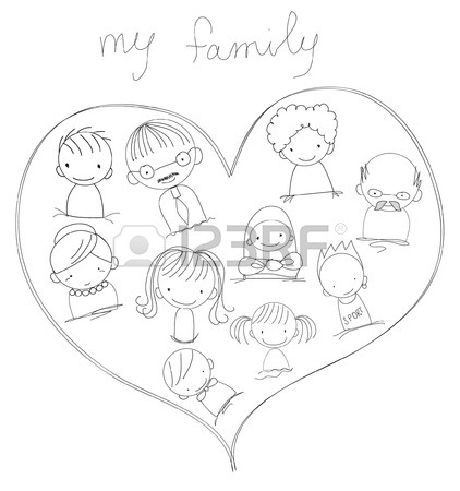 422x450 Children's Drawings Of Doodle Family, Animals, People Royalty Free