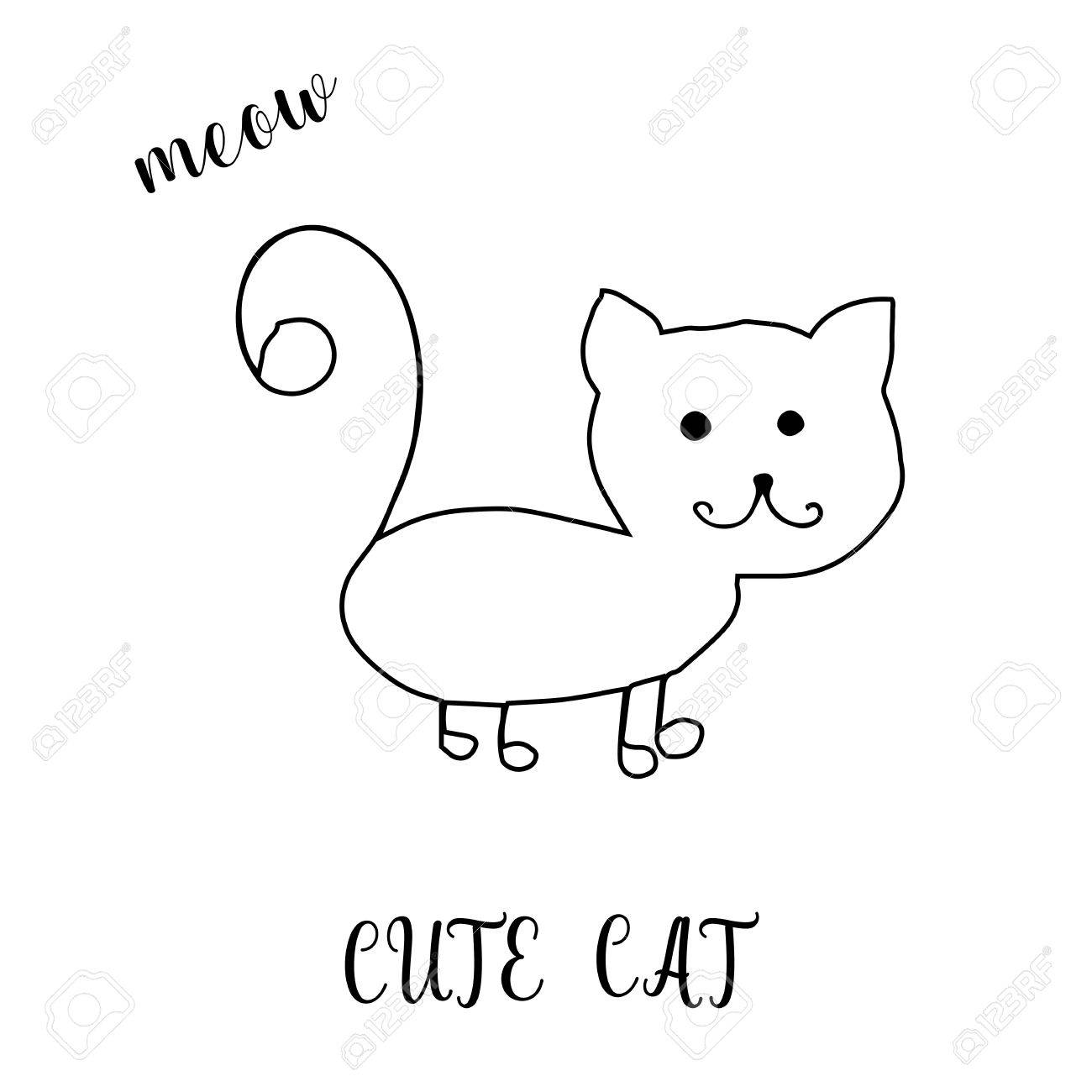 1300x1300 Childrens Drawing A Cute Cat. The Template For The Painting. Hand