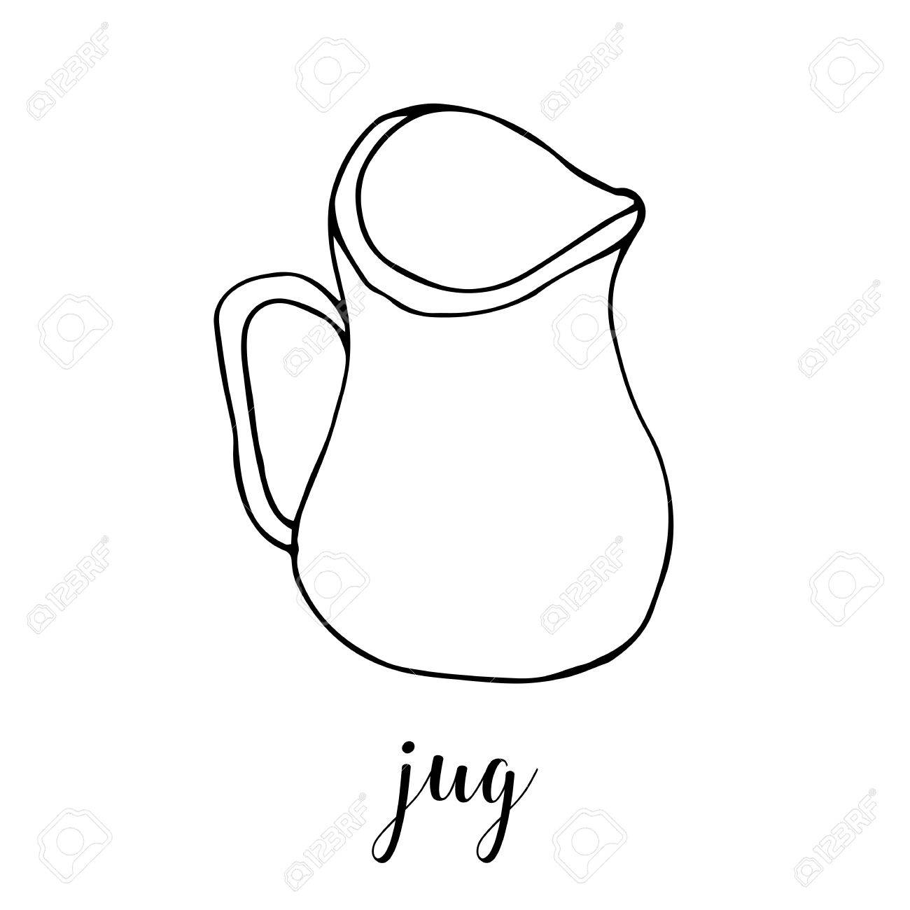 1300x1300 Childrens Drawing A Jug. The Template For The Painting. Hand