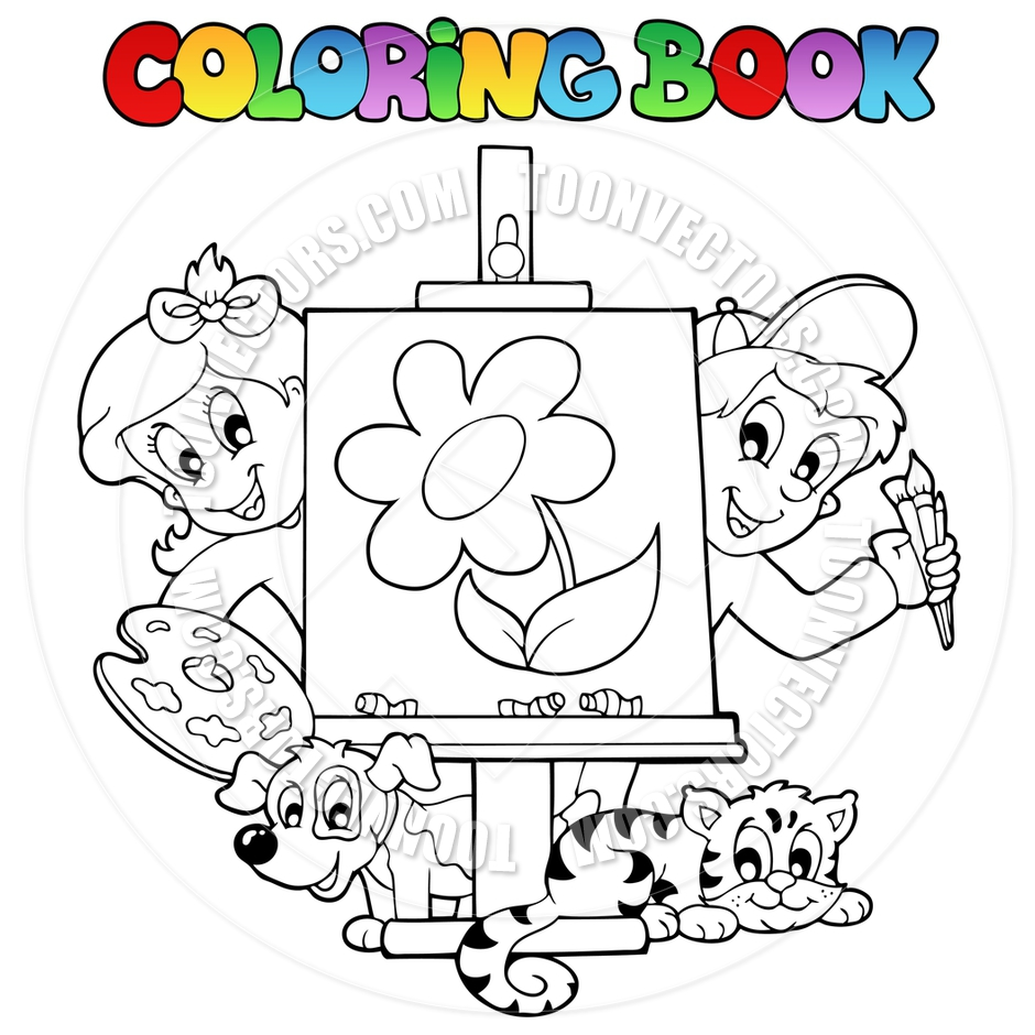 940x940 Cartoon Coloring Book Kids Painting Canvas. Children Childrens