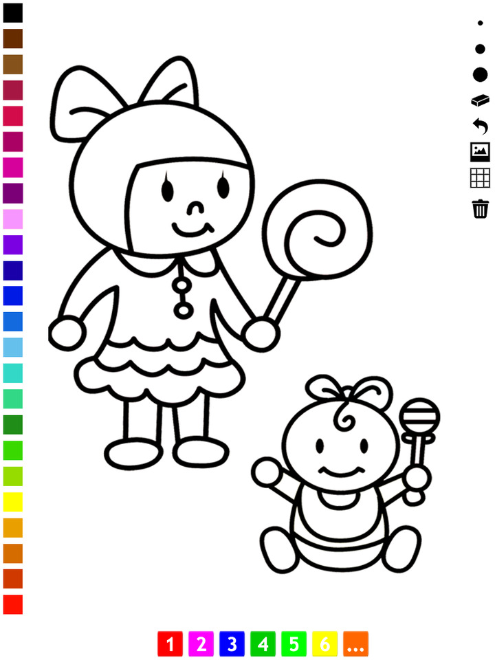720x960 Coloring Book Drawing Of Children Playing