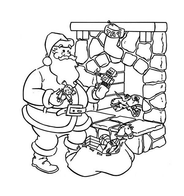 600x639 Santas Is Coming Down From The Chimney Coloring Page