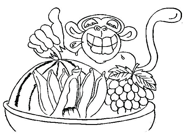600x444 Chimpanzee Coloring Page Chimpanzee And Bucket Full Of Fruits