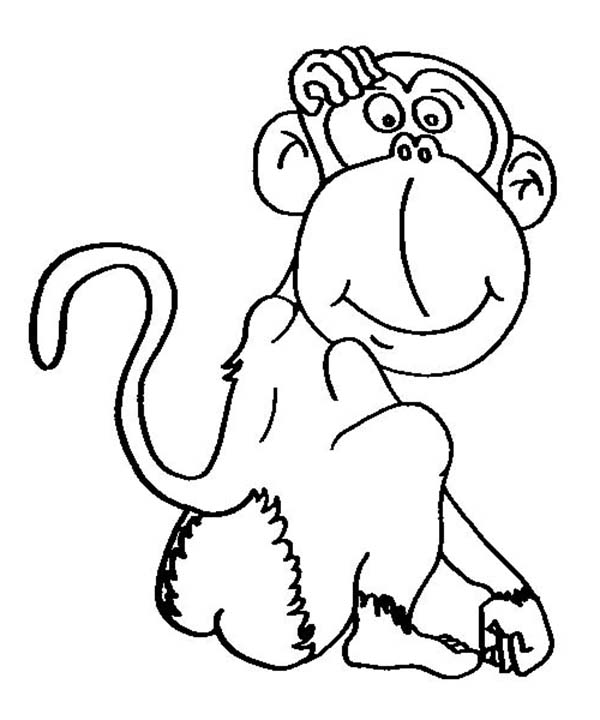 600x720 Cartoon Of Chimpanzee Coloring Page Coloring Sun