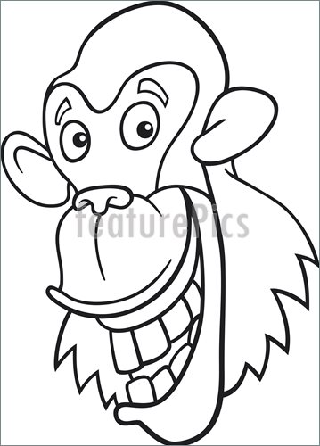 359x500 Illustration Of Chimpanzee For Coloring Book