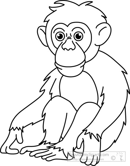 437x559 Chimpanzee Clipart Black And White Letters