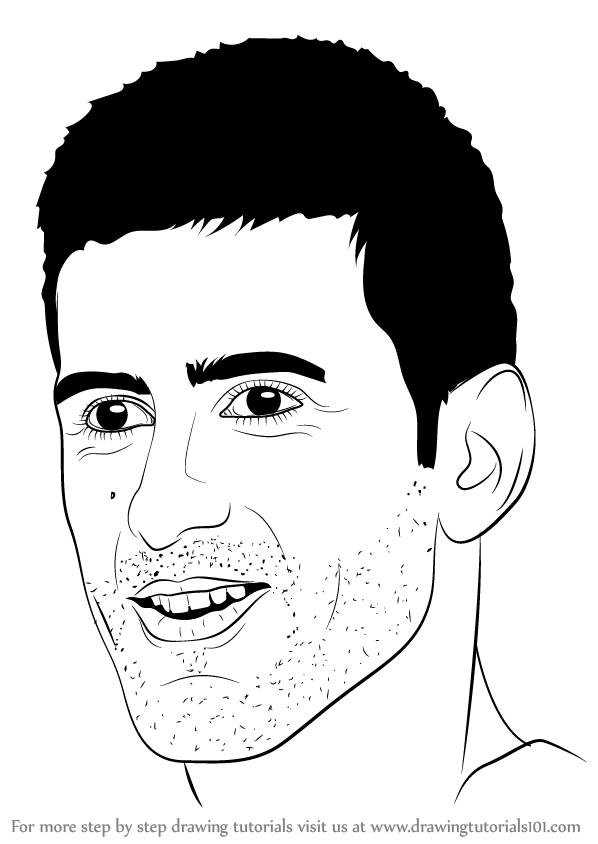 598x844 Learn How To Draw Novak Djokovic (Tennis Players) Step By Step