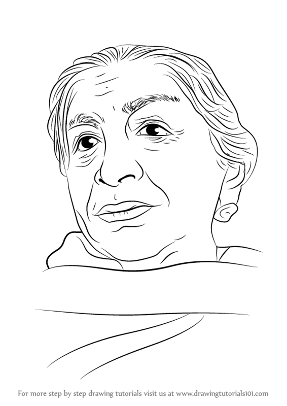 566x800 Learn How To Draw Sarojini Naidu (Poets) Step By Step Drawing