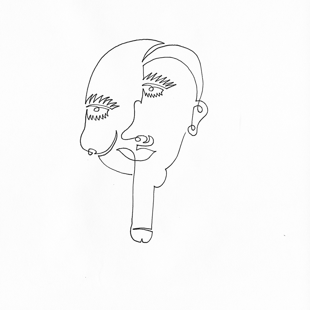 1024x1024 A Single Line Drawing Of A Face With Droopy Breast Cheek