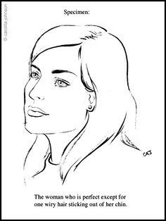 236x314 Drawing Of Women Plucking Chin Hair