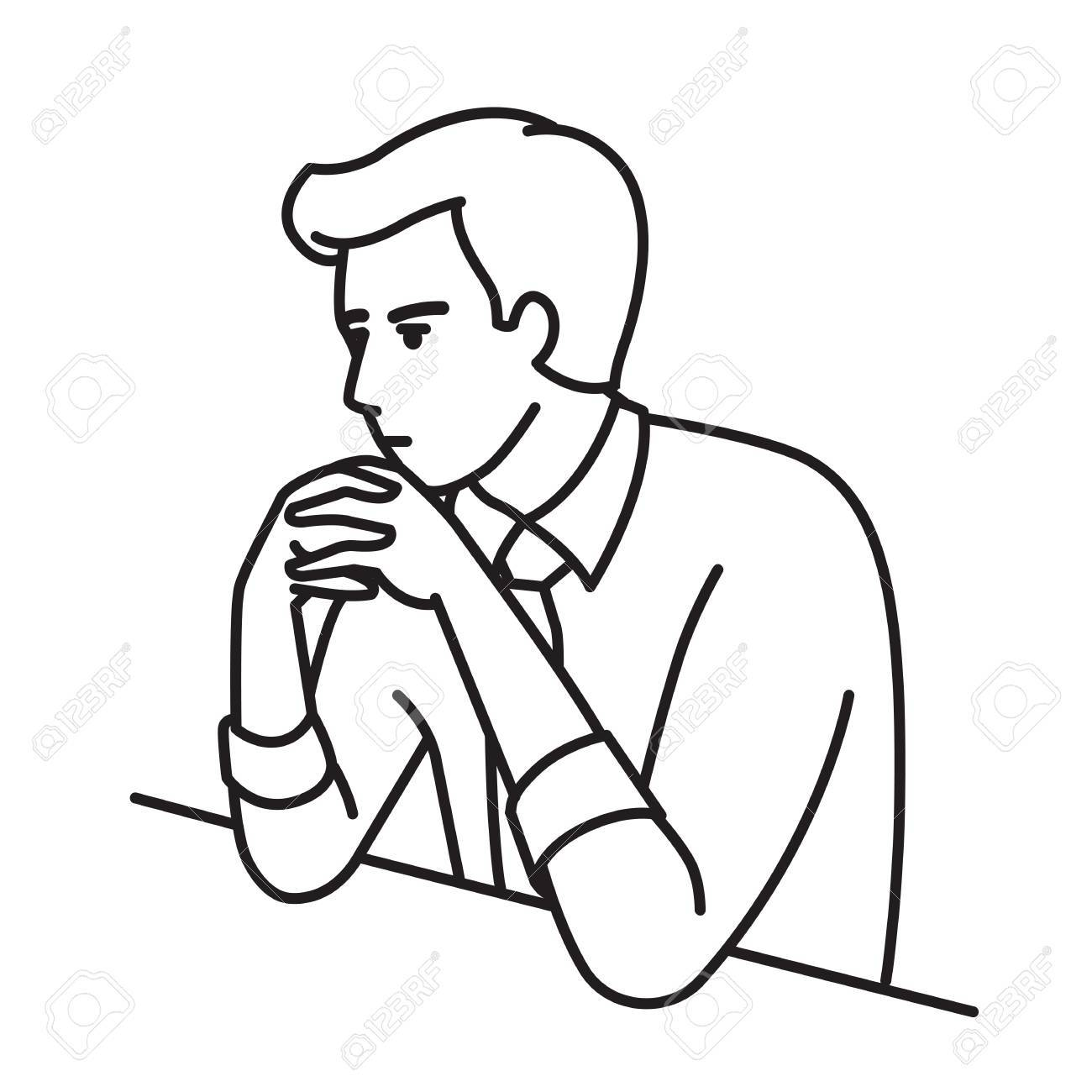 1300x1300 Businessman Sitting Table, Clenched Hands On His Chin With Serious
