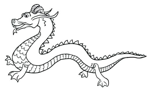 570x320 Chinese Dragon Coloring Pages New Year Dragon Drawing Dragon