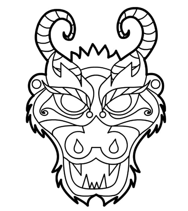 600x671 Chinese Dragon Mask Coloring Pages