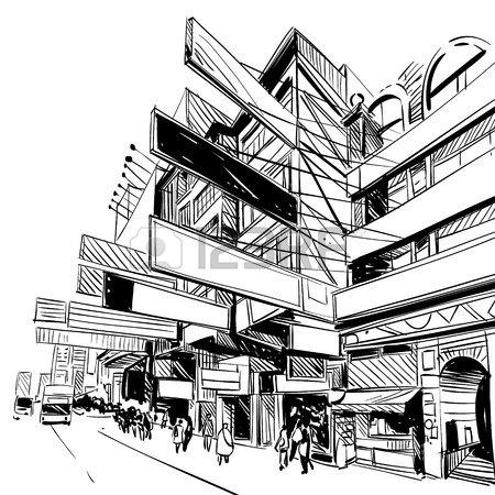 450x450 China City Sketch, Design. Illustration Royalty Free Cliparts