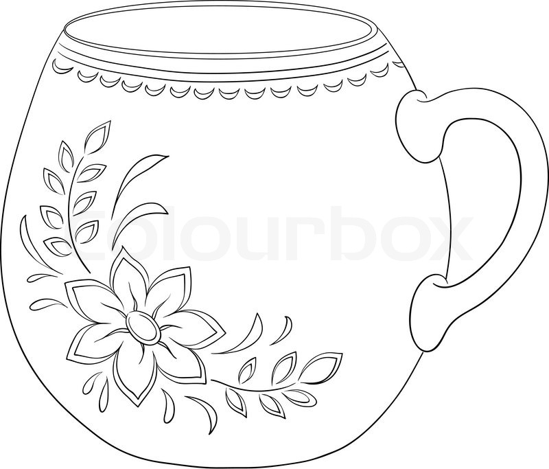 800x683 China Cup With A Pattern From A Flower And Leaves, Contour Stock