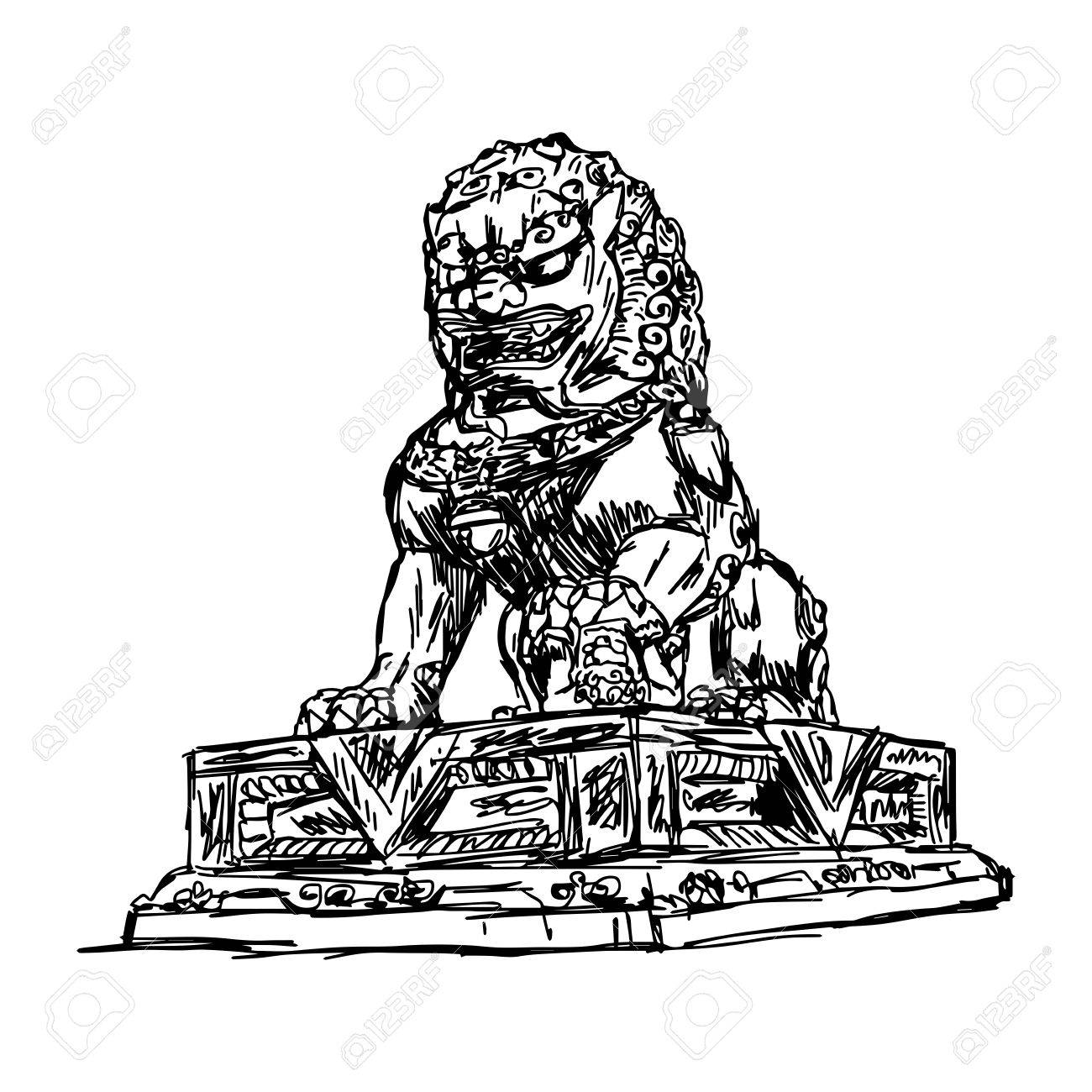 1300x1300 Illustration Vector Doodle Hand Drawn Of Sketch Big Bronze Lion