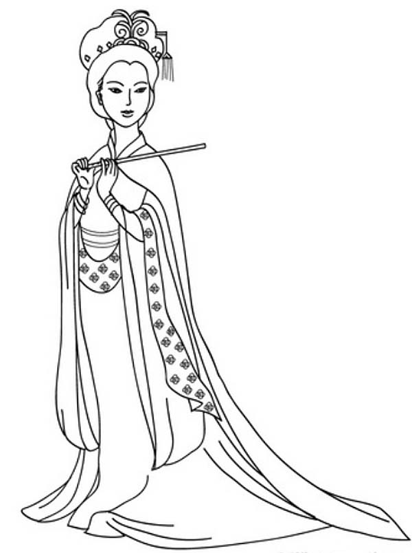 600x804 An Ancient China Drawing Of A Lady Coloring Page