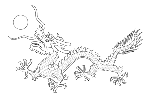 480x318 Chinese Dragon From The Flag Of Qing Dynasty Coloring Page Must