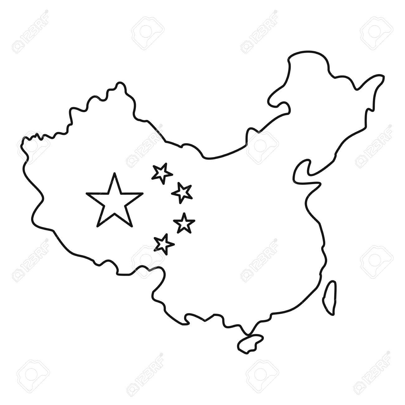 1300x1300 Map Of China With Flag Icon. Outline Illustration Of Map Of China