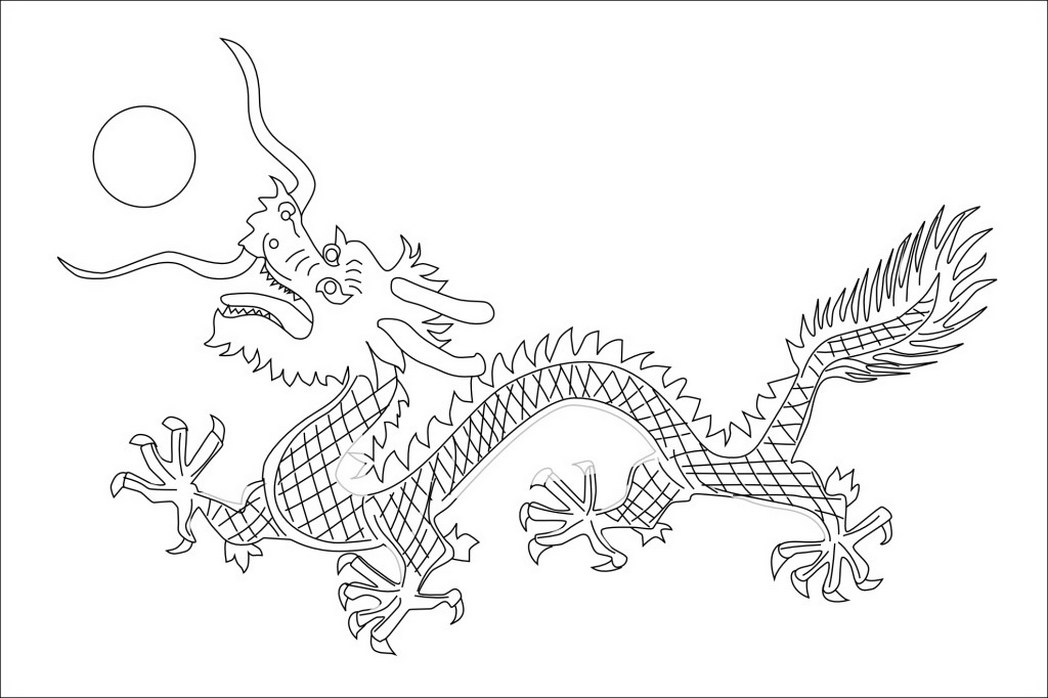1048x698 China Qing Dynasty Flag Black White Line Art Chinese New Year