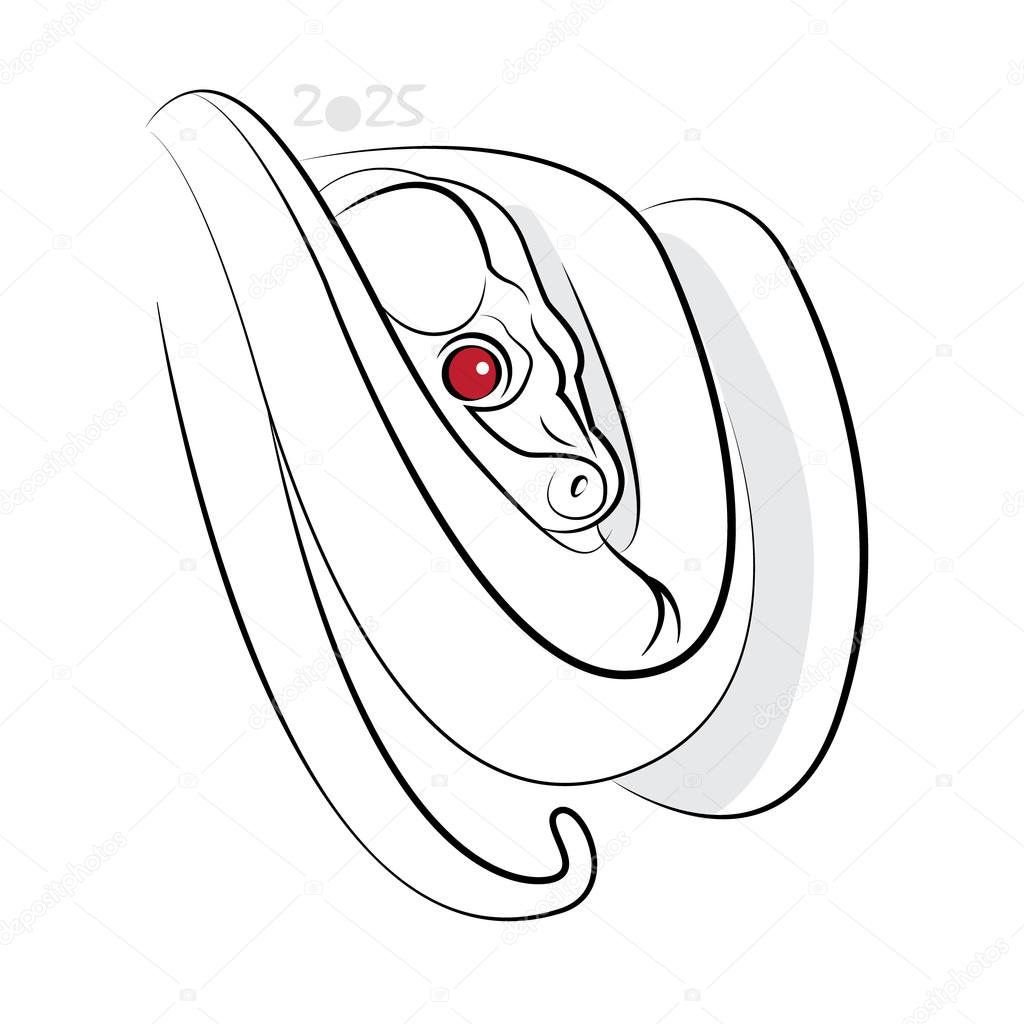1024x1024 Chinese Calligraphy Snake 2025 Stock Vector Adamskyistudio