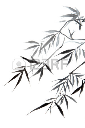 300x450 Bamboo Leaf , Traditional Chinese Calligraphy Art Isolated