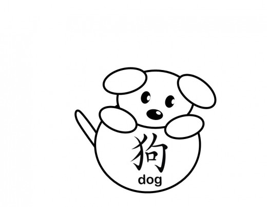 520x402 Cute Little Dog With A Ball That Has The Chinese Character