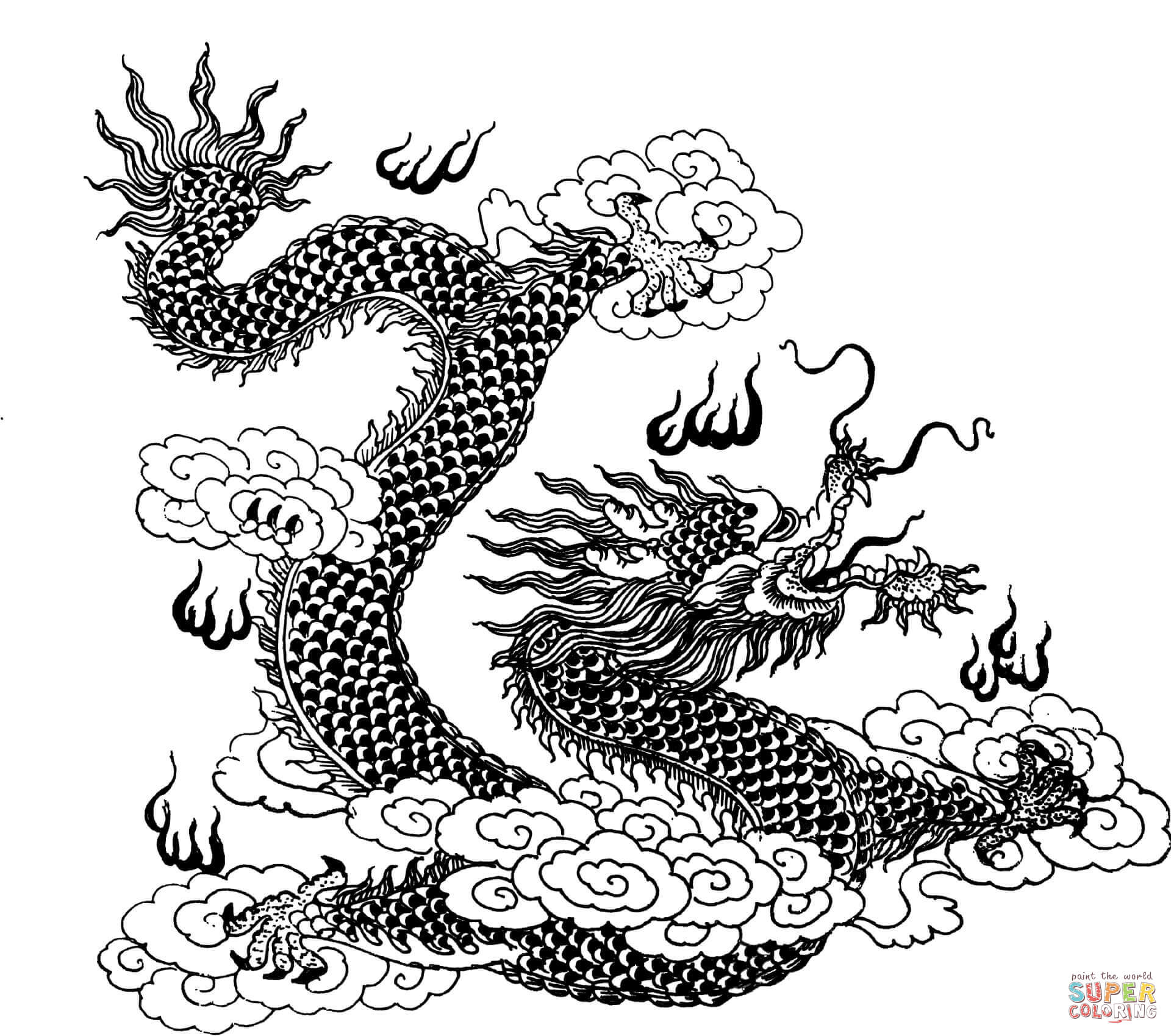 1920x1699 Dragon In Clouds Coloring Page Free Printable Coloring Pages