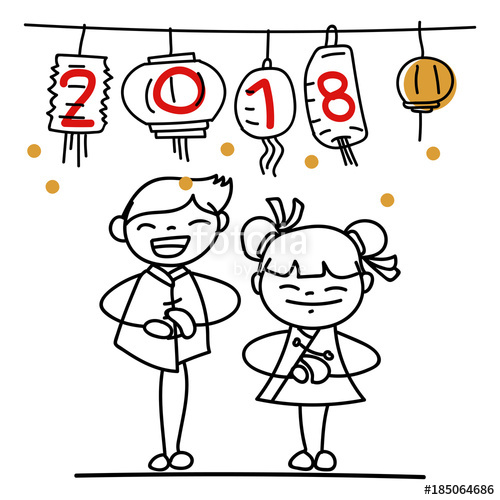 500x500 Hand Drawing Cartoon Character People Happy Chinese New Year 2018