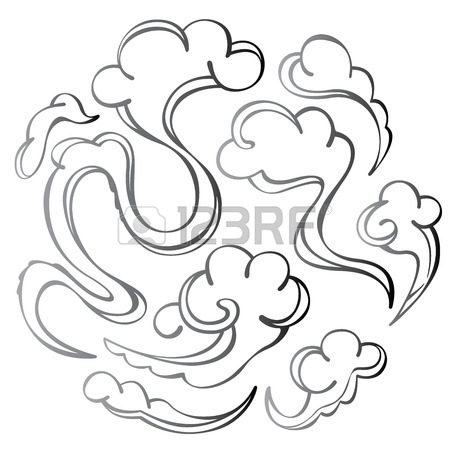 450x450 Japanese Or Chinese Style Cloud Design Set Royalty Free Cliparts