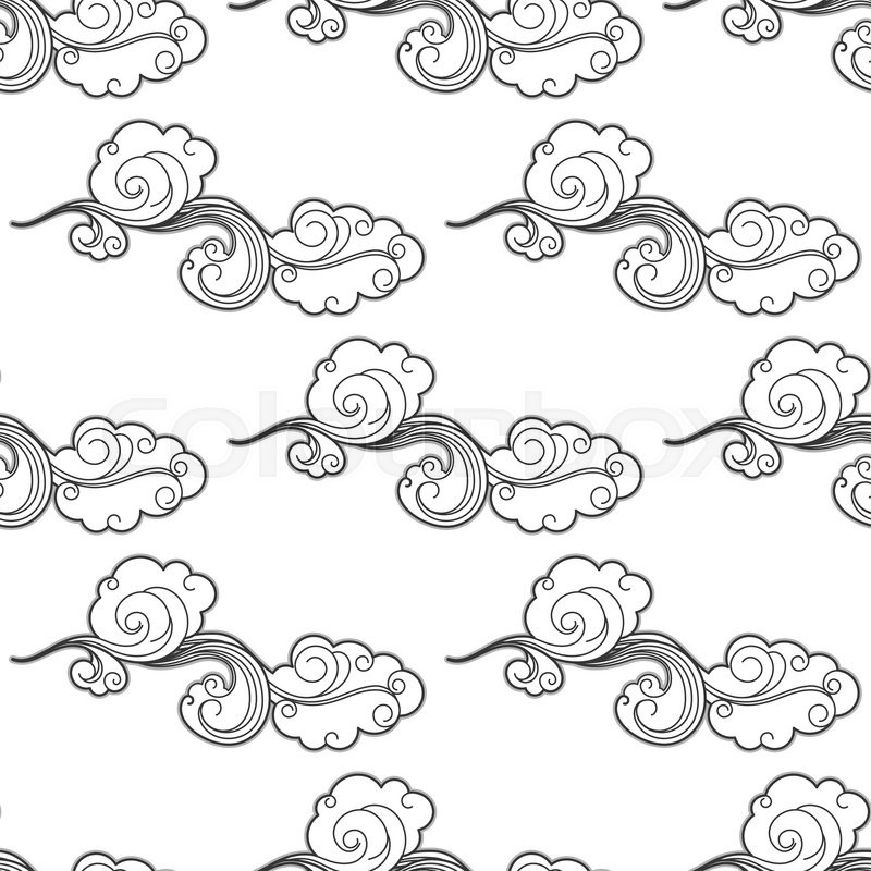 800x800 Vintage Cartoon Clouds Seamless Pattern With Curlicue Swirling