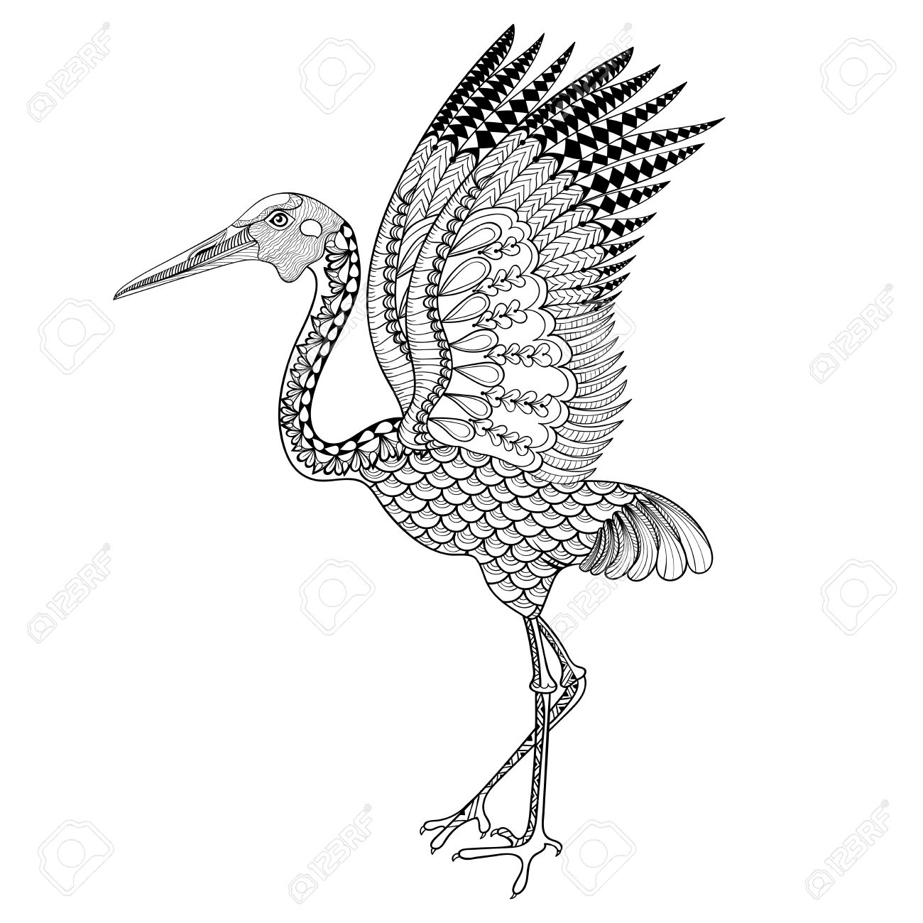 Chinese Crane Drawing