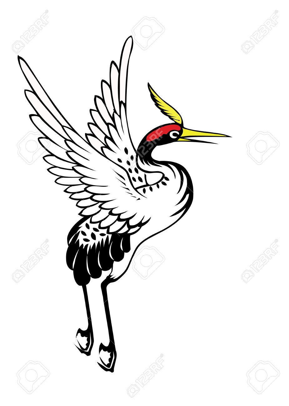 925x1300 Chinese Heron Painting On The White Background Stock Photo
