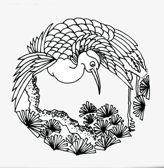 650x665 Beak Crane, Round, Hand Painted, Chinese Style Png Image For Free