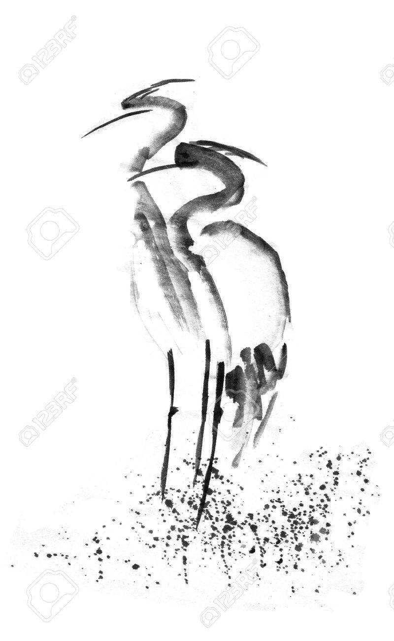 800x1300 Beautiful Gallant Stork Heron Crane Love. Black Ink. Japanese
