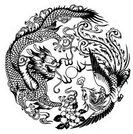446x451 Dragon And Phoenix Tattoo Whimsy Phoenix, Dragons
