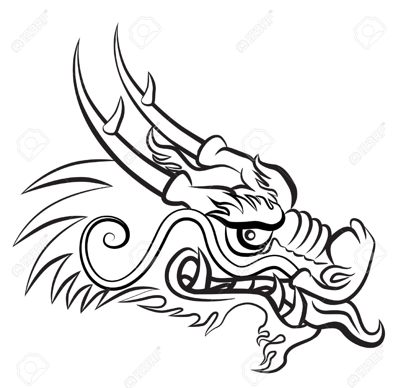 1300x1269 Chinese Dragon Face Drawing Chinese Dragon Head Sketch