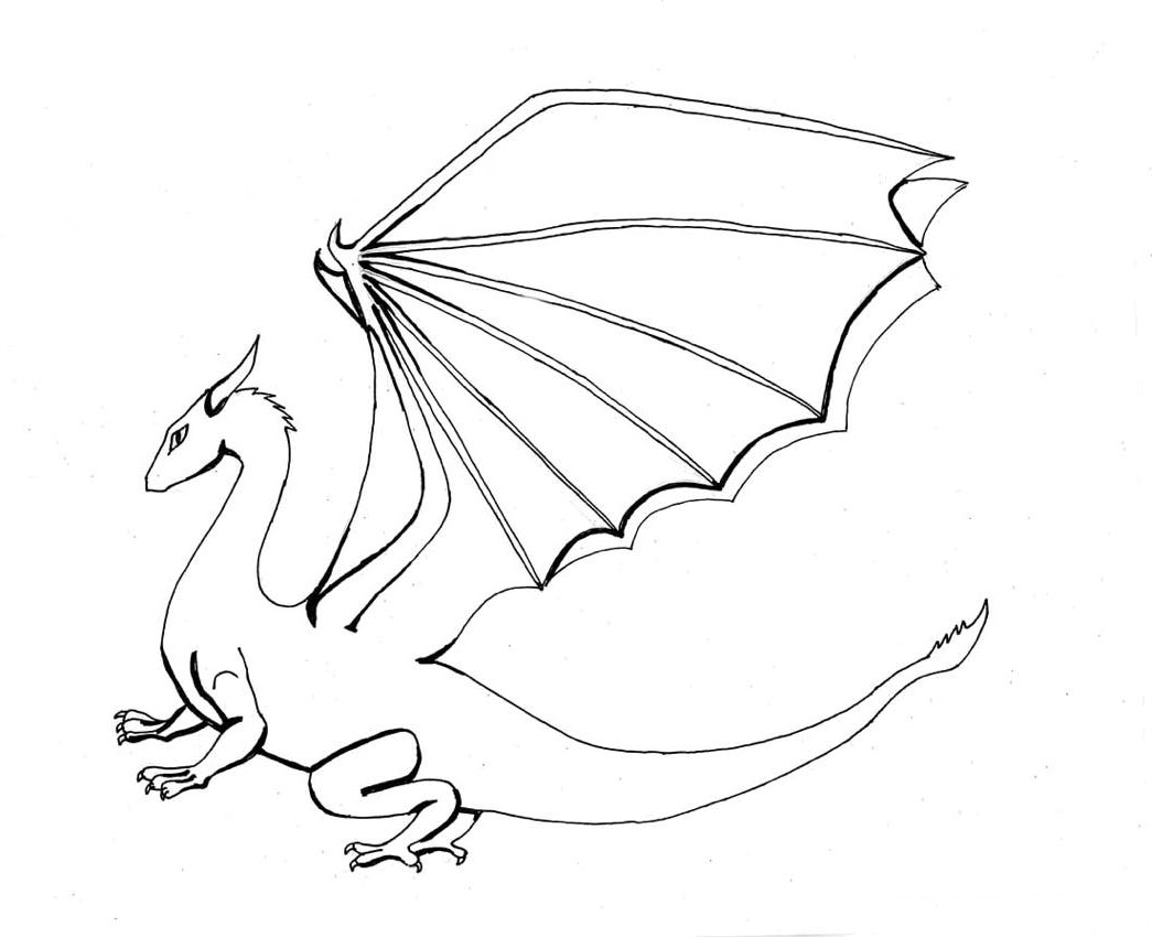 1045x850 Coloring Pages Draw A Simple Dragon Easy With