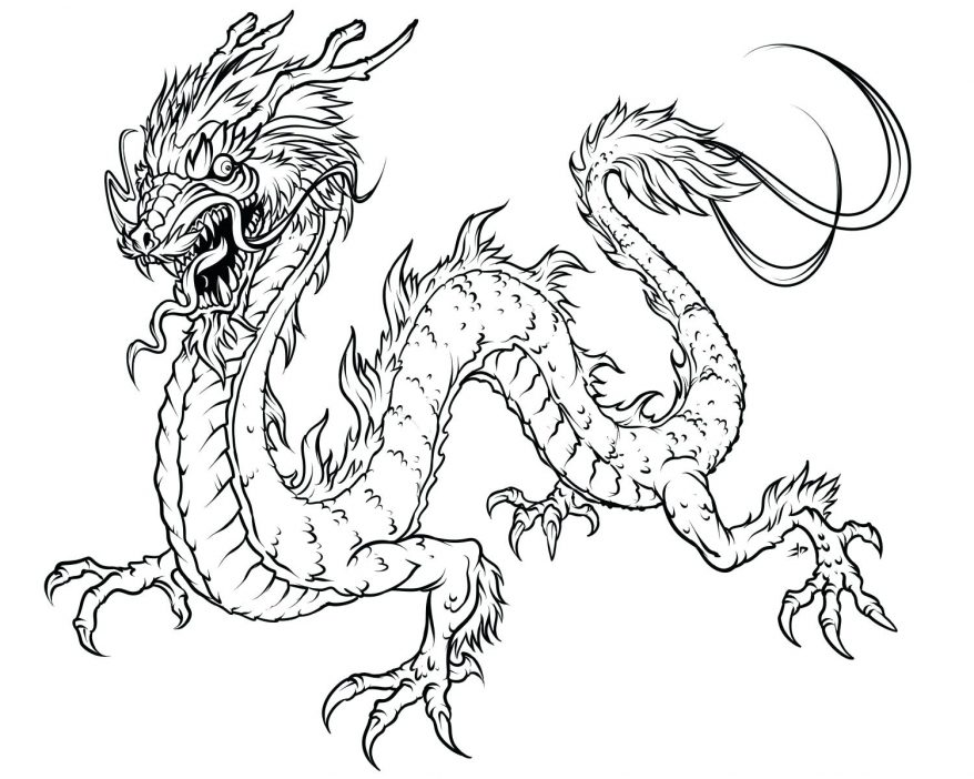 878x702 Dragon Coloring Pages Colouring 144 Glamorous Chinese Page Simple
