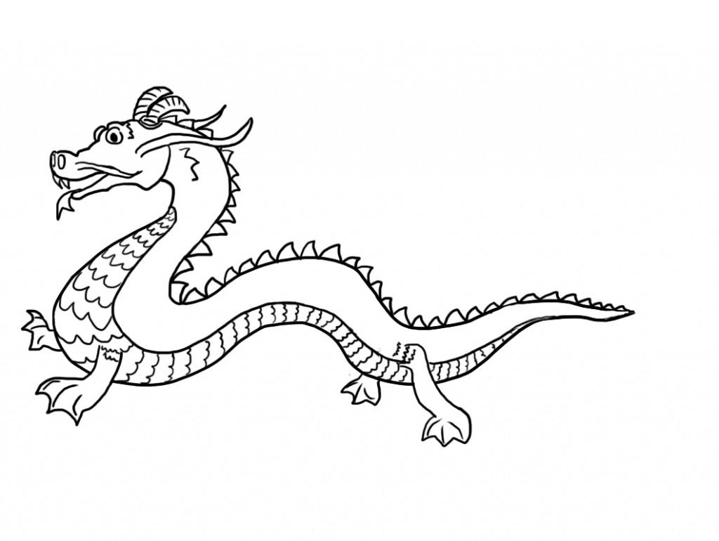 1024x770 Simple Chinese Dragon Coloring Page Colorings