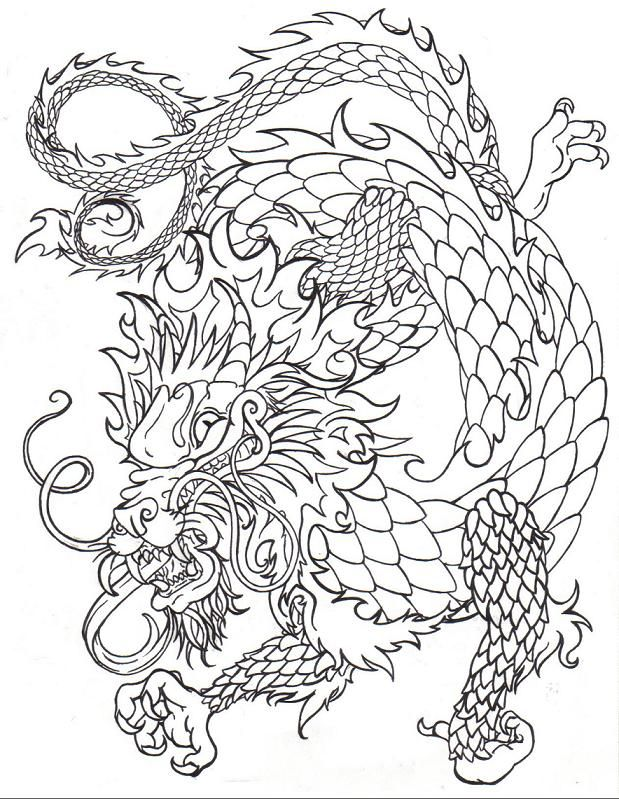 619x799 Drawn Chinese Dragon Trace