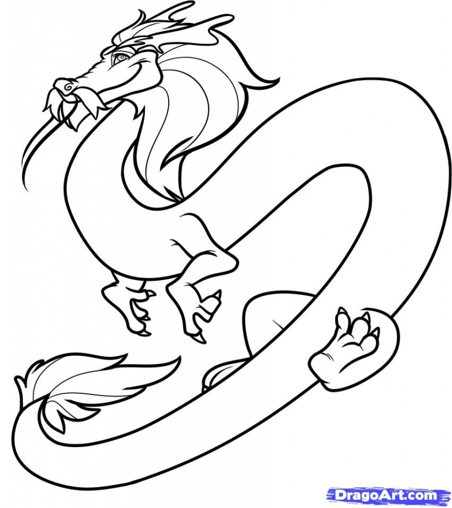 911x1024 How To Draw A Chinese Dragon How To Draw A Cartoon Chinese Dragon