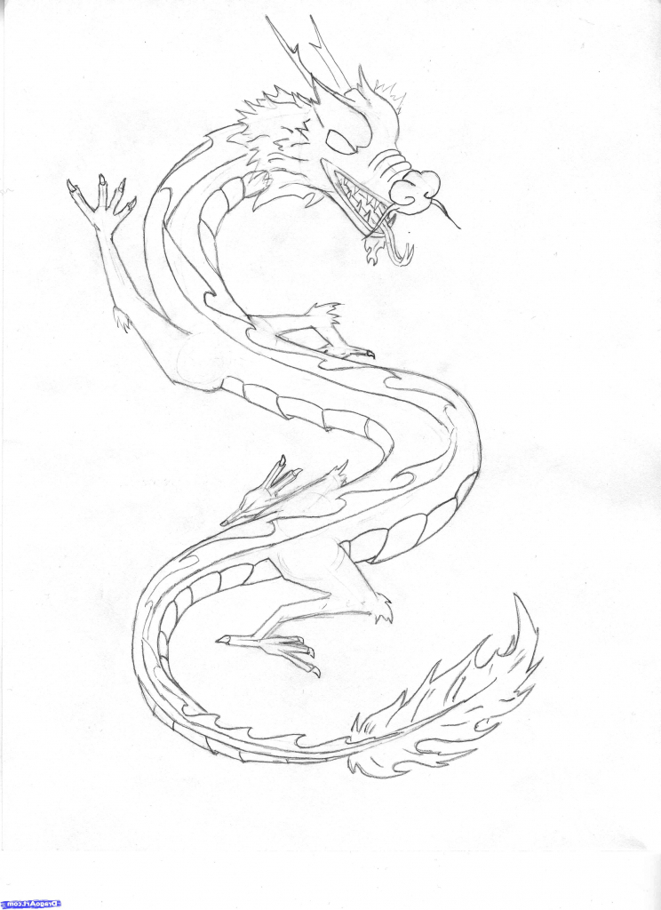 744x1024 Simple Chinese Dragon Drawing Simple Chinese Dragon Drawing Pencil