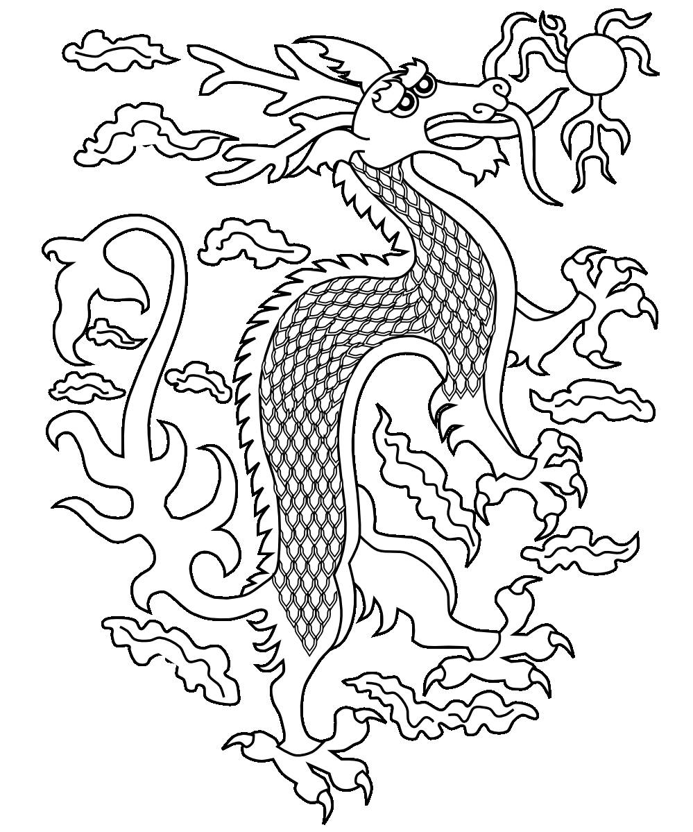 999x1199 chinese dragon coloring pages