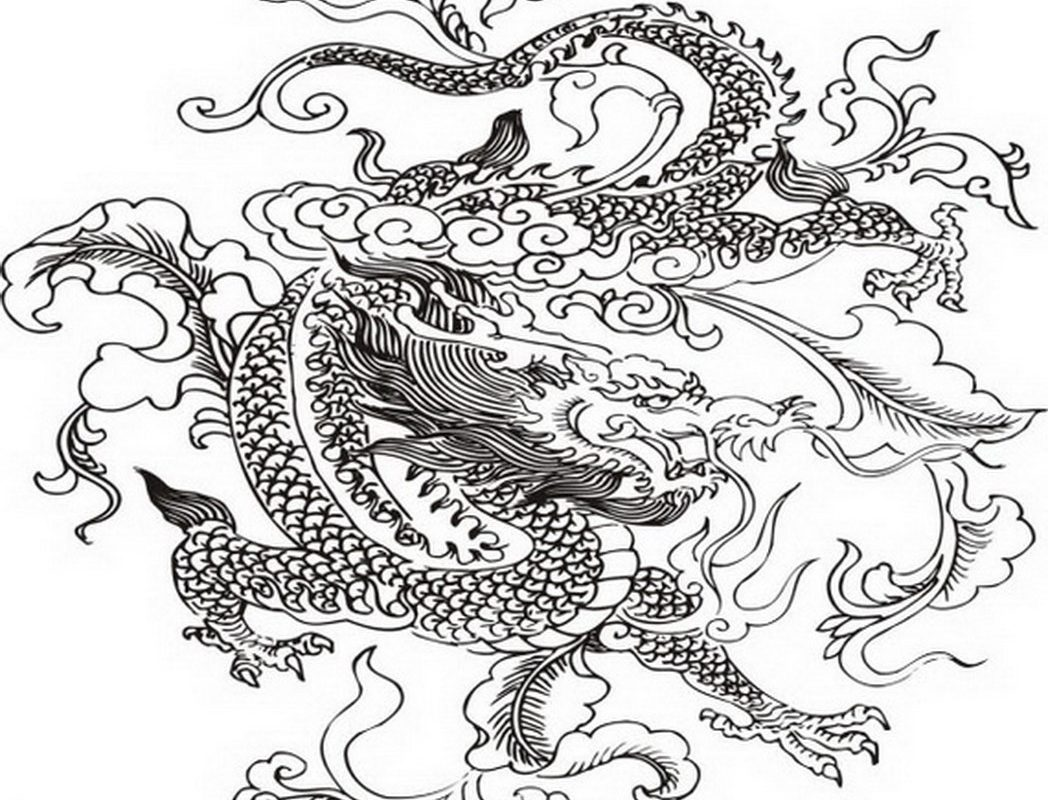 1048x800 Chinese Dragon Coloring Pages Fantasy Free Printable Adult Zodiac