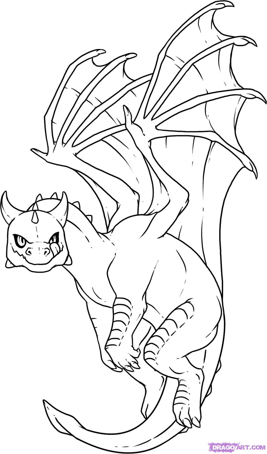 900x1527 Dragon Coloring Pages How To Draw Baby Dragon, Step By Step