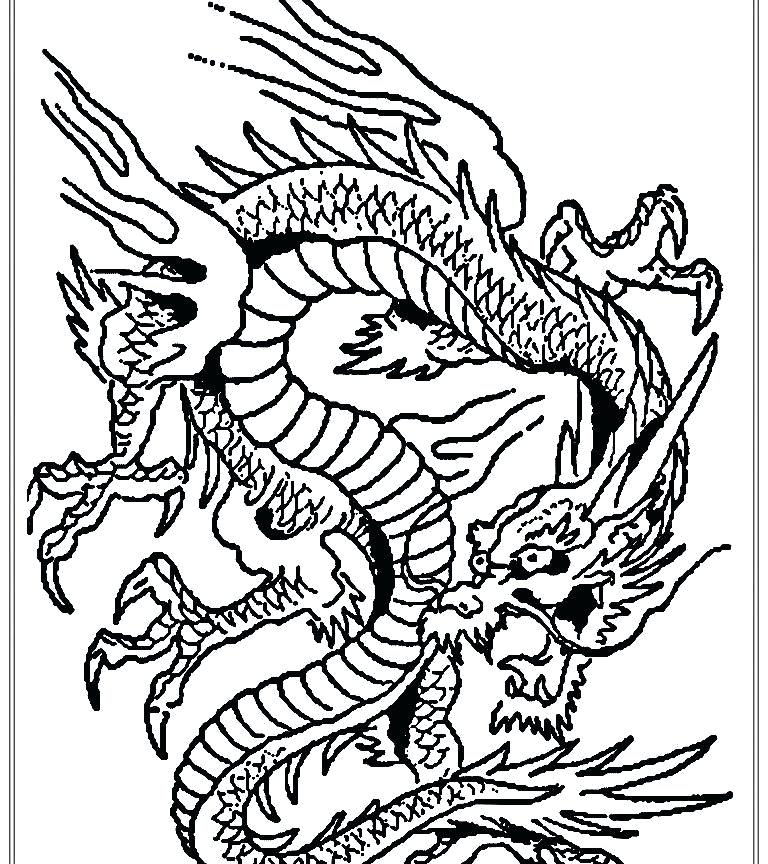 768x864 Chinese Dragon Coloring Pages