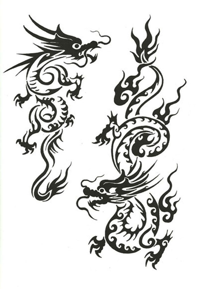 700x1015 Collection Of Glowing Chinese Dragon Tattoo Design