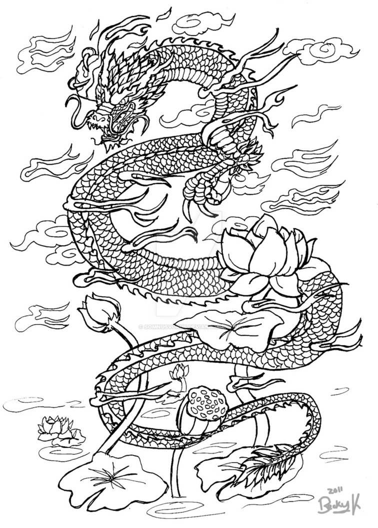 756x1057 Drawn Chinese Dragon Oriental Dragon