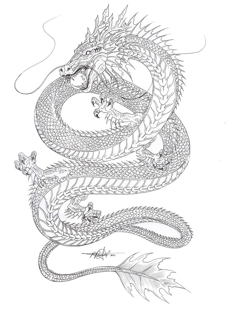 762x1048 Outline sketch of the Chinese Water dragon . Gonna Color it